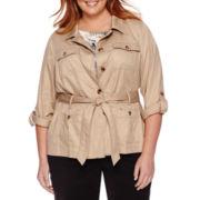 Liz Claiborne® Long-Sleeve Roll-Tab Safari Jacket - Plus