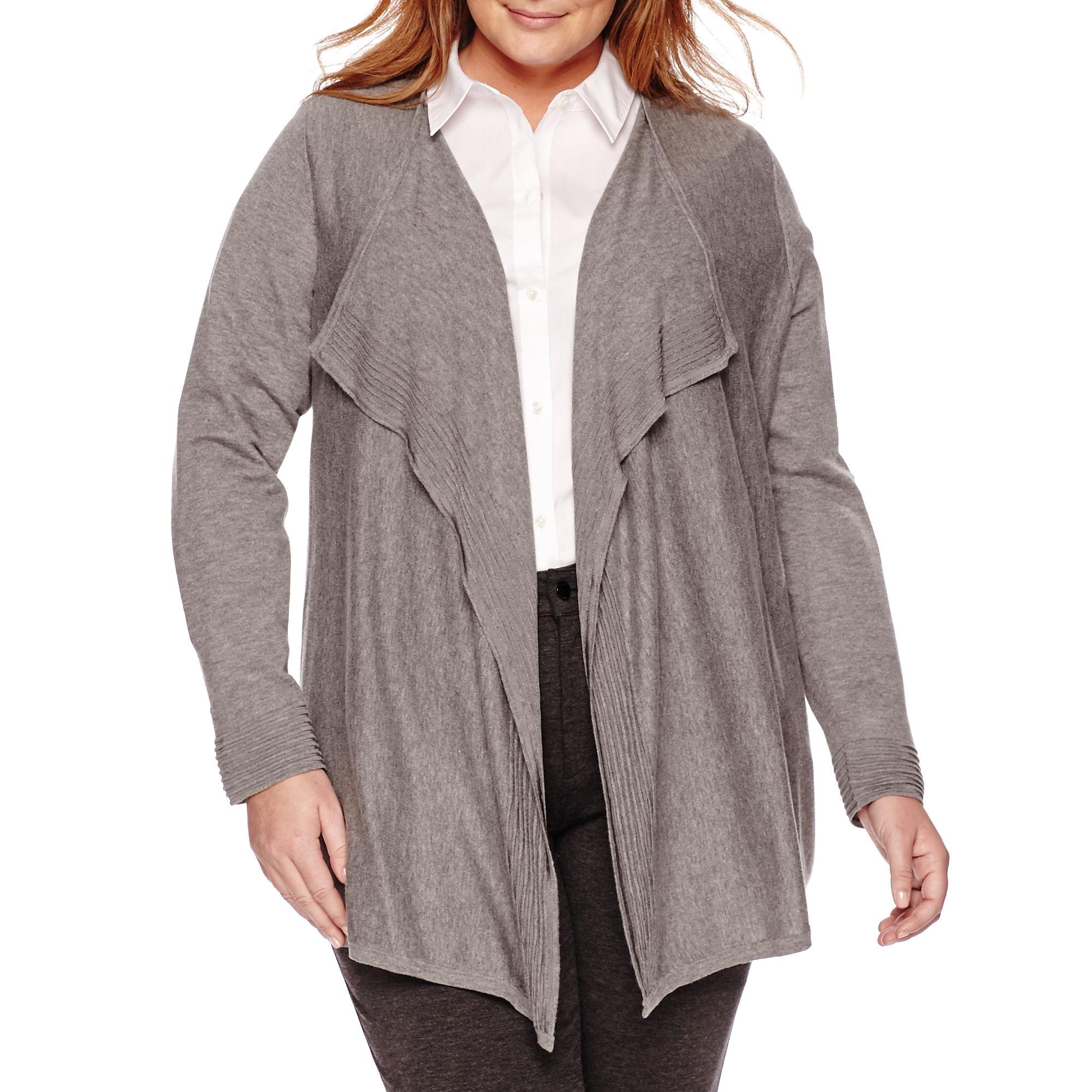 Liz Claiborne Long-Sleeve Open Cardigan - Plus