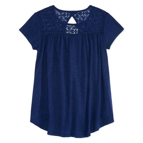 Arizona Crochet Yoke High-Low Top - Girls 7-16 and Plus