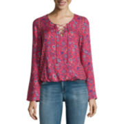 Arizona Long-Sleeve Peasant Top - Juniors