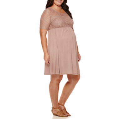 jcpenney.com | Maternity Elbow-Sleeve Lace-Top Knit Dress - Plus