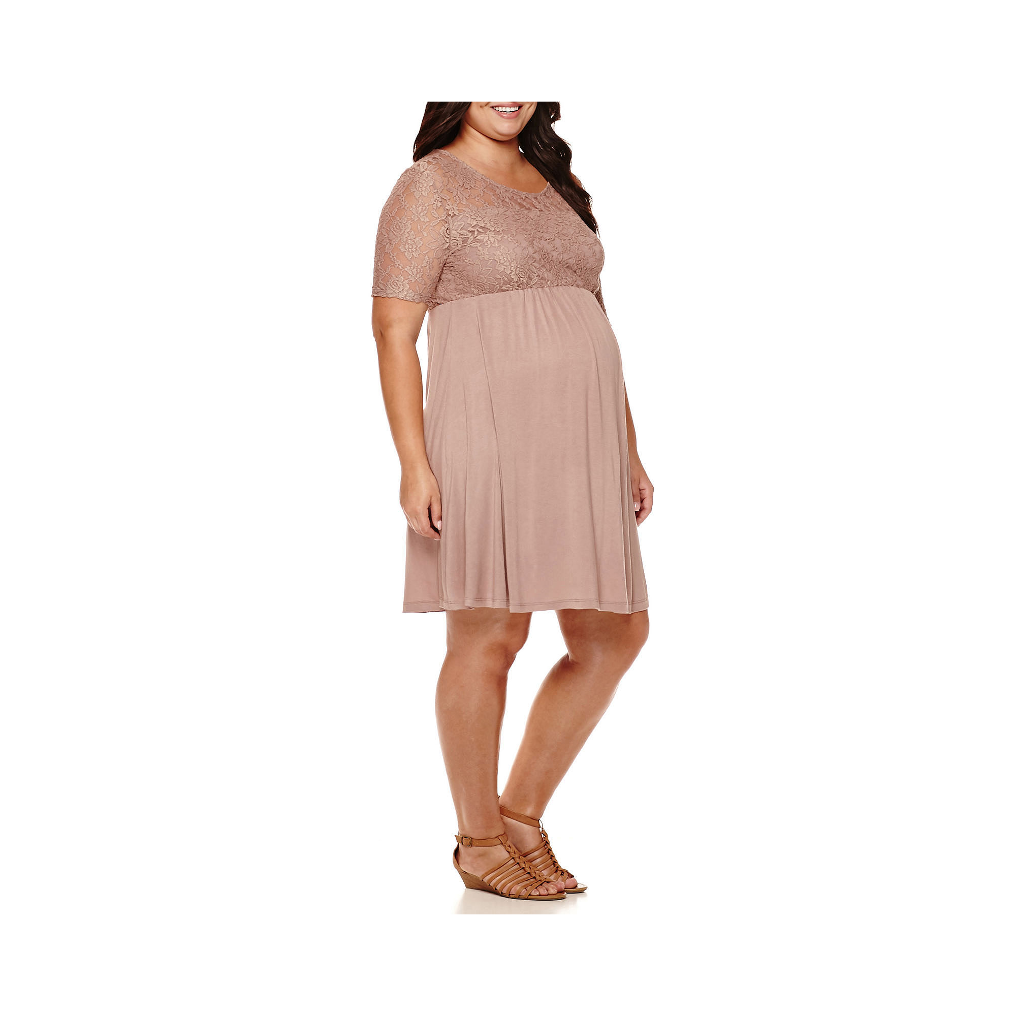 Maternity Elbow-Sleeve Lace-Top Knit Dress - Plus plus size,  plus size fashion plus size appare