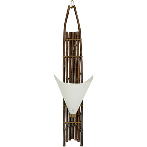 "Oriental Furniture 39"" Baku Japanese Bamboo Wall Sconce"