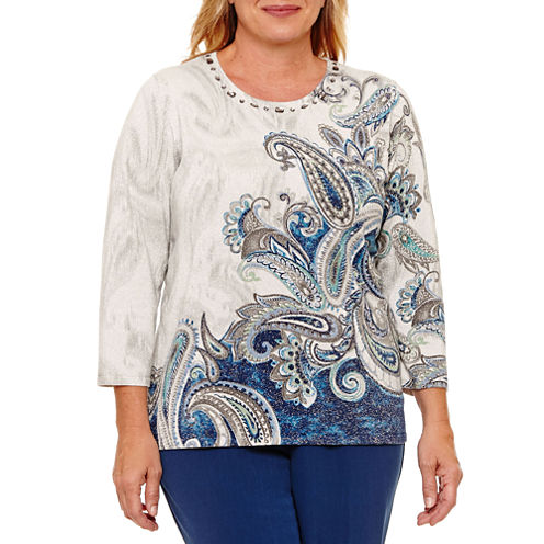 Alfred Dunner Arizona Sky 3/4 Sleeve Crew Neck Pullover Sweater-Plus