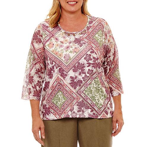Alfred Dunner Palm Desert 3/4 Sleeve Crew Neck T-Shirt-Womens Plus