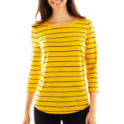 Liz Claiborne 3/4-Sleeve Striped Tee