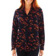 Liz Claiborne Long-Sleeve Button-Front Print Blouse