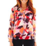 Liz Claiborne Long-Sleeve Split-Neck Top with Cami - Talls