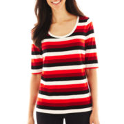Liz Claiborne Elbow-Sleeve Striped Tee