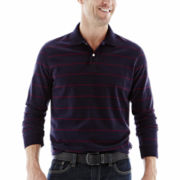 St. John's Bay® Sueded Fine Striped Polo Shirt