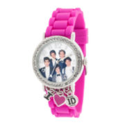 One Direction Womens Crystal-Accent Charm Silicone Strap Watch
