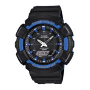 Casio® Mens Blue Bezel Black Strap Solar Sport Watch