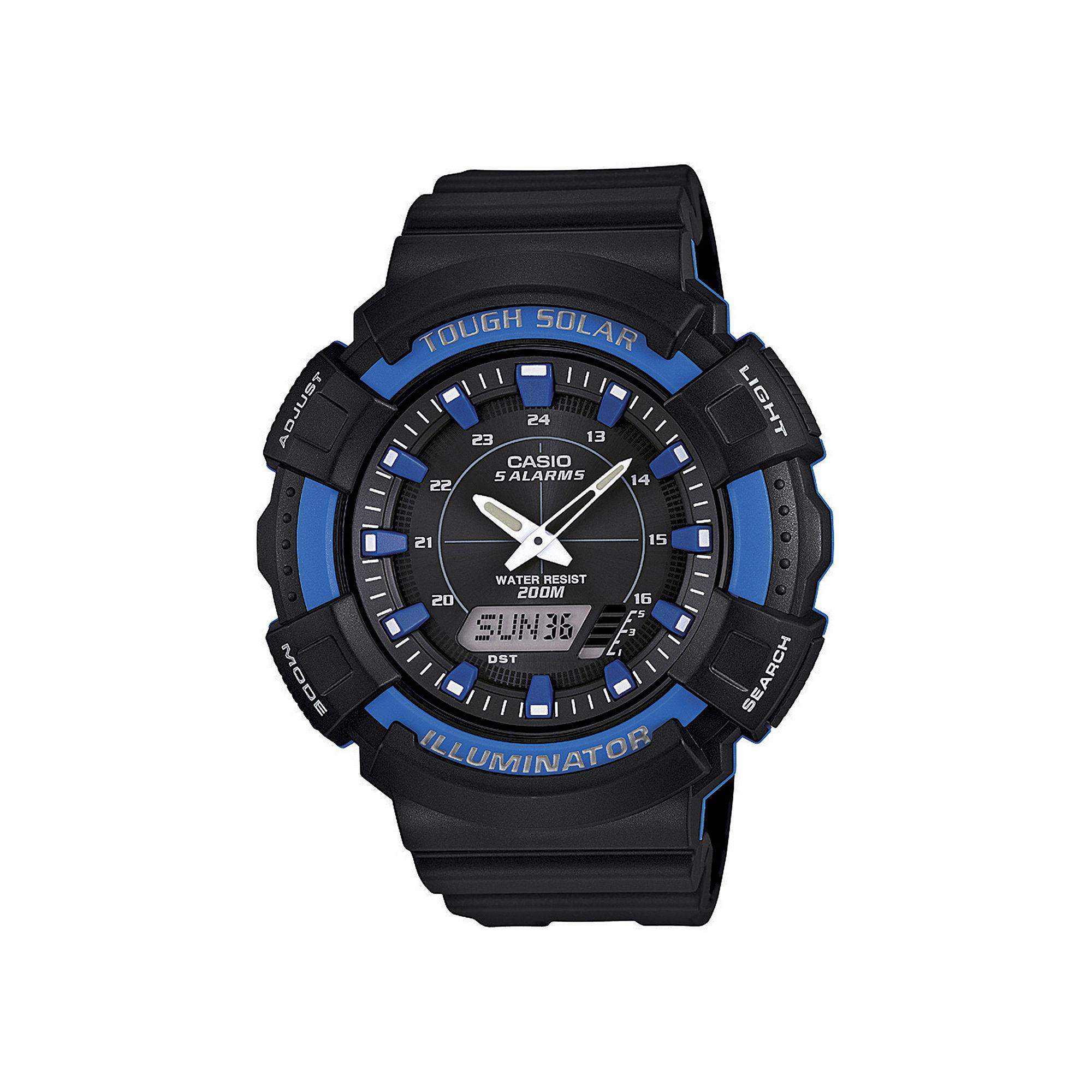 Casio Mens Blue Bezel Black Strap Solar Sport Watch ADS800WH-2A2