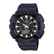 Casio® Mens Green Bezel Black Strap Solar Sport Watch