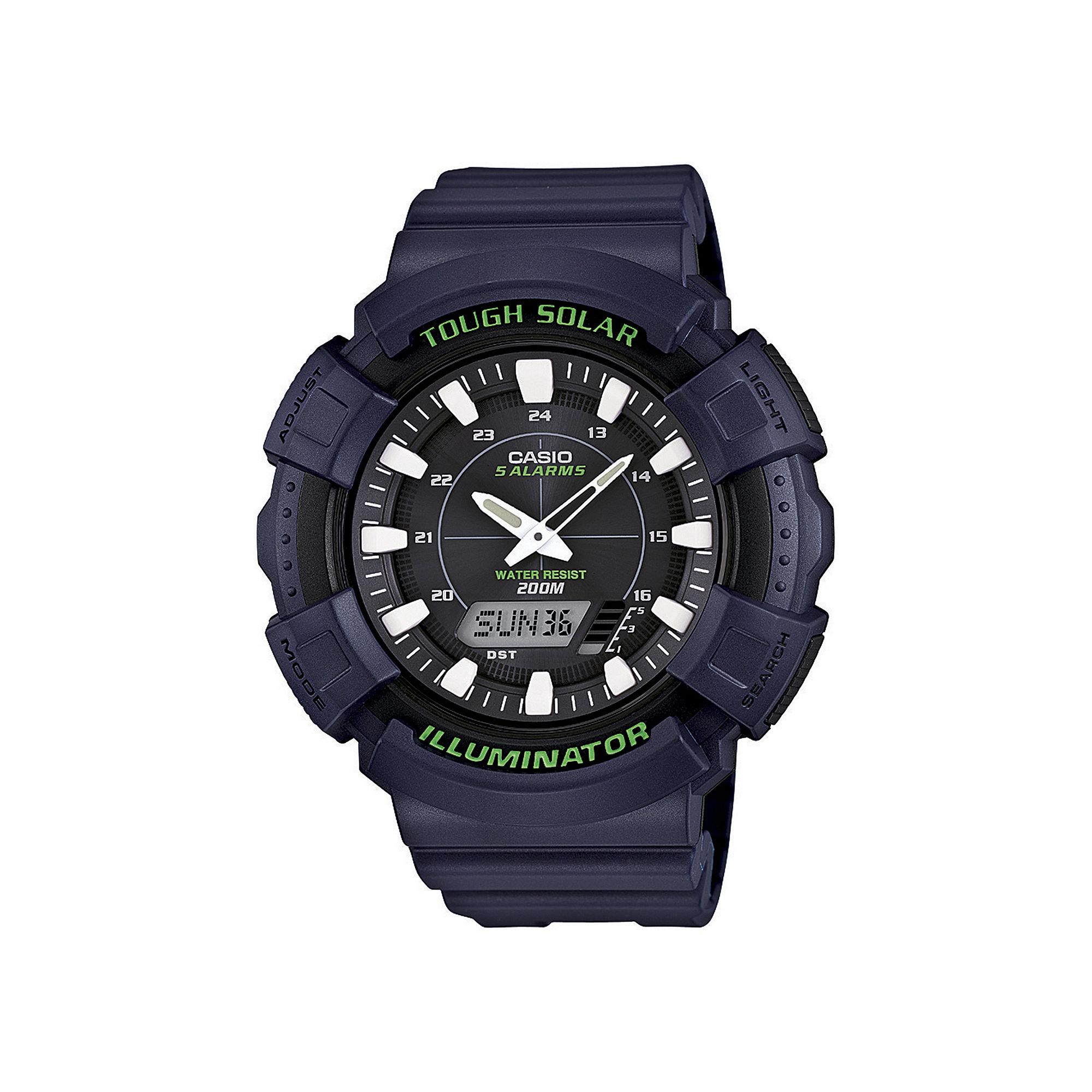 Casio Mens Green Bezel Black Strap Solar Sport Watch ADS800WH-2AV