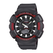 Casio® Mens Red Bezel Black Strap Solar Sport Watch