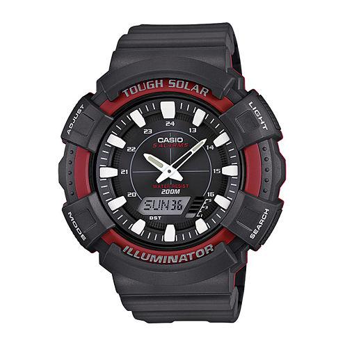 Casio® Mens Red Bezel Black Strap Solar Sport Watch ADS800WH-4AV