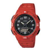 Casio® Mens Red Strap Solar Sport Watch