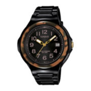 Casio® Womens Brown Bezel Black Strap Solar Sport Watch