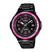 Casio® Womens Pink Bezel Black Strap Solar Sport Watch