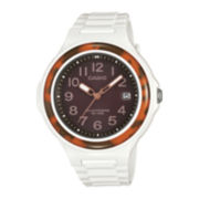 Casio® Womens Brown Bezel White Strap Solar Sport Watch