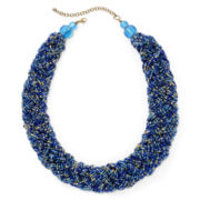 Mixit™ Gold-Tone Blue Seed Bead Braided Collar Necklace