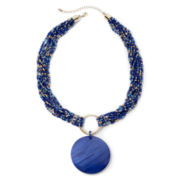 Mixit™ Gold-Tone Blue Seed Bead Shell Pendant Necklace