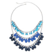 Mixit™ Silver-Tone Blue and Teal 3-Row Collar Necklace