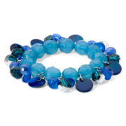 Mixit™ Silver-Tone Blue and Teal Shaky Stretch Bracelet