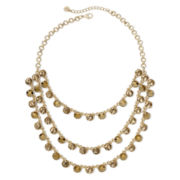 Monet® Gold-Tone Topaz-Colored Three-Row Collar Necklace