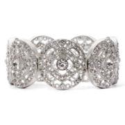 Liz Claiborne® Antiqued Silver-Tone Milgrain Stretch Bracelet