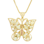 Lab-Created Opal and Pink Sapphire Butterfly Pendant