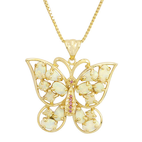 Lab-Created Opal and Pink Sapphire Butterfly Pendant Necklace