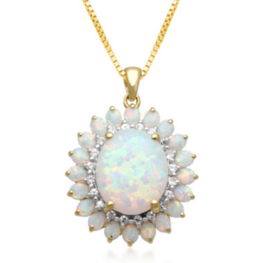 jcpenney.com | Lab-Created Opal & White Sapphire Drop Pendant Necklace