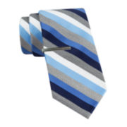 JF J. Ferrar® Heather Multi-Stripe Tie and Tie Bar Set - Slim