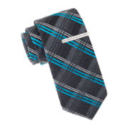 JF J. Ferrar® Wolverine Plaid Tie and Tie Bar Set - Slim