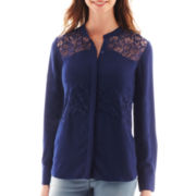 a.n.a® Long-Sleeve Lace-Inset Blouse