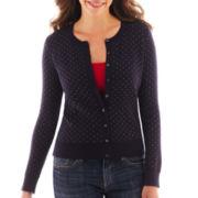 Liz Claiborne 3/4-Sleeve Striped-Back Cardigan Sweater - Tall