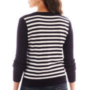Liz Claiborne 3/4-Sleeve Striped-Back Cardigan Sweater