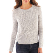Liz Claiborne® Long-Sleeve High-Low Cable Sweater