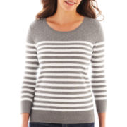 Liz Claiborne® 3/4-Sleeve Striped Sweater