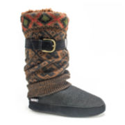 MUK LUKS® Fiona Womens Buckle Sweater Knit Boot Slippers