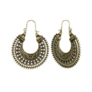 Mixit™ Antiqued Gold-Tone Hoop Earrings
