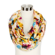 Brushstroke Flower-Print Loop Scarf