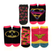 Womens 5-pk. Superhero Logo Low-Cut Socks