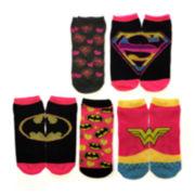 Womens 5-pk. Superhero Logo Low-Cut Socks