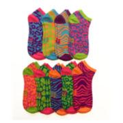Womens 9-pk. Leopard Low-Cut Socks