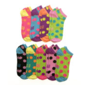Womens 9-pk. Dot Low-Cut Socks