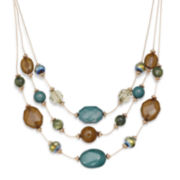 Mixit™ Olive Green and Teal Stone 3-Row Necklace