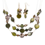 Mixit™ Green and Animal Print Bead Cluster Earring and 3-Row Illusion Necklace Set